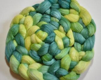 Lucky - hand dyed merino roving - 4 oz spinning fiber - felting wool - hand painted silk - St Patrick's Day spinning fiber - green wool