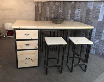 Central industrial kitchen island 1 door 3 steel drawers solid wood