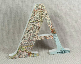 US Map Letters hand painted and decorated with Vintage US  Maps plus Free Gift Wrapping! 3 heights offered 10cm, 13cm & 15cm