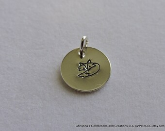 Hand Stamped Fox charm or build your own Necklace (#1608)