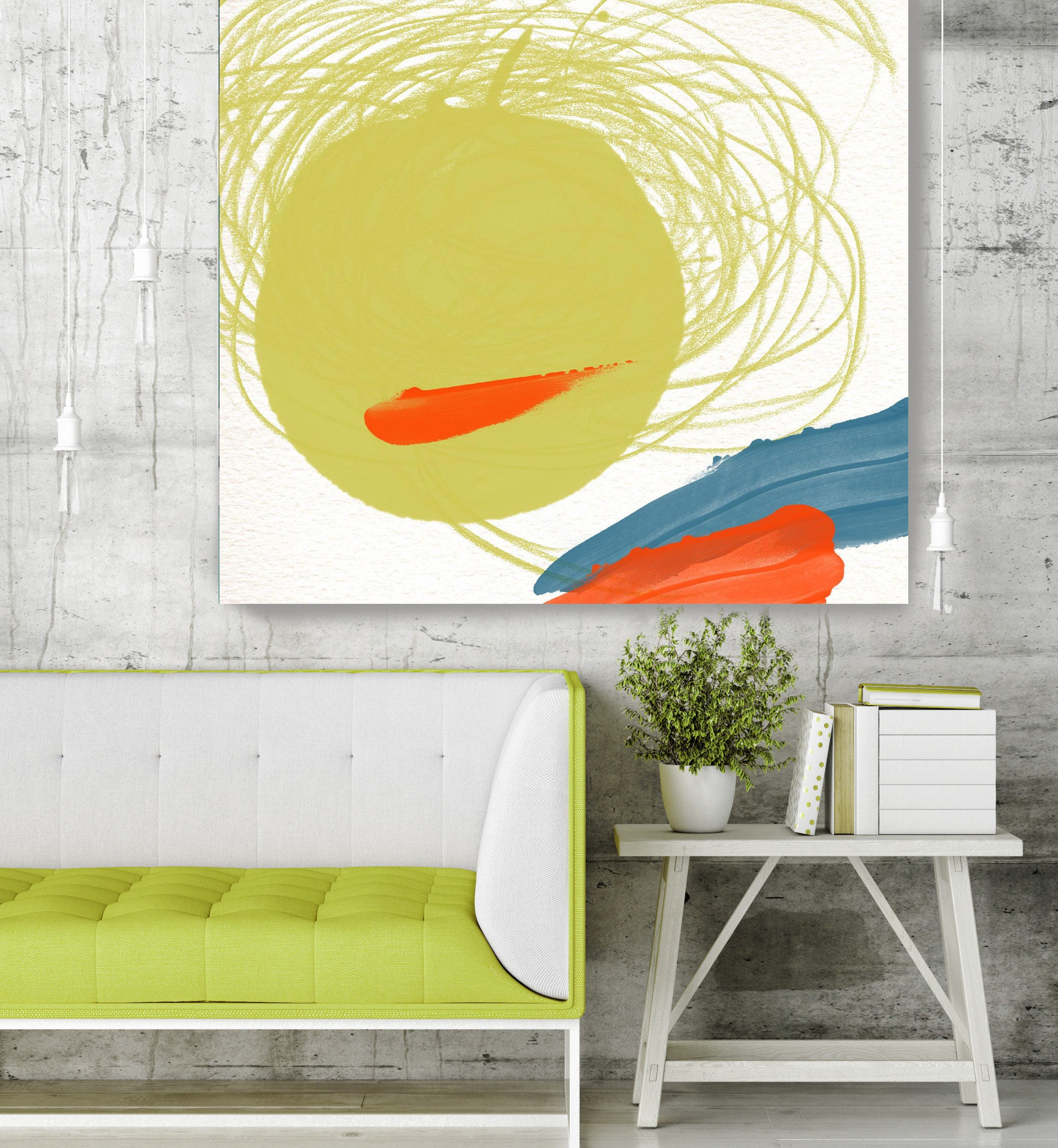 Happy Mood II - Green Geometrical Abstract Art, Wall Decor, Large ...