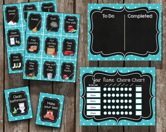 50% OFF SALE Chore Chart & Cards {Instant Download} Complete Kit - EDITABLE Chart - Kids Routines