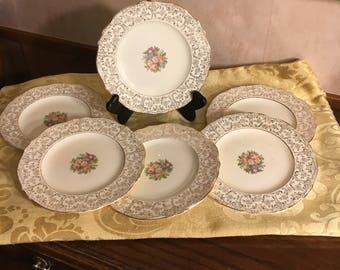 Vintage Salad Dessert Plates Shabby Chic Dessert Plates