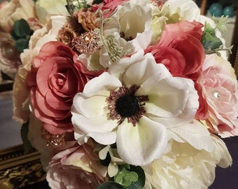 Bridal bouquet blush pinks deep pinks loose country style. Shabby chic wedding flowers ivory roses rose gold diamantes