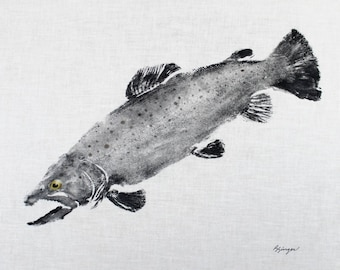 ORIGINAL 19 inch Brown Trout GYOTAKU Fish Rubbing Art Lake House Decor on Best White cloth