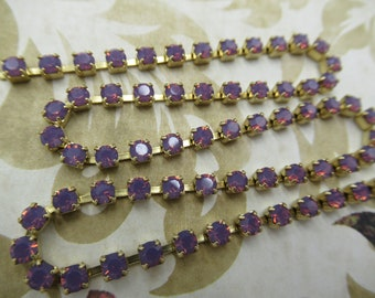 3mm Purple Opal Rhinestone Chain - Brass Setting - Amethyst Purple Opal Preciosa Czech Crystals *NEW ITEM*