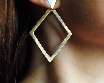 Sterling Silver-Gold-Triangle-Diamond-Ear Jacket-Earrings / Free US Shipping