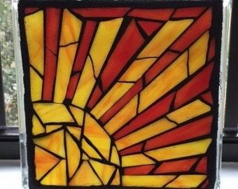 Mosaic Sun, Stained Glass Mosaic, Sun Design, Sunshine Decor, Stained Glass Block, Glass on Glass, Mosaic Glass Block, Orange and Yellow