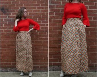 1970's Size S-M Liberty print 'Gaaldine' long cotton wrap maxi skirt