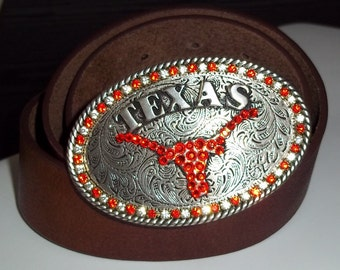 University of Texas Longhorns Crystal Football Team Belt Buckle
