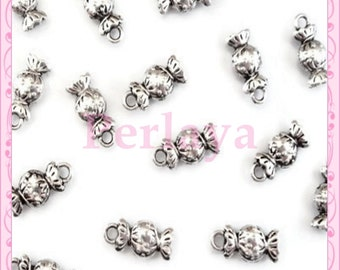 Set of 25 silver candy REF183X5 charms