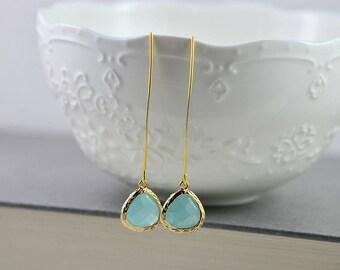 Turquoise Drop Gold Long Earrings, Turquoise Teardrop Earrings, Turquoise Jewellery, Classic Long Dangle Blue Bridesmaids Wedding Earrings
