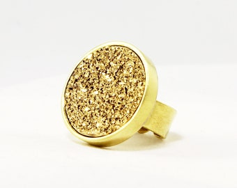 Gold Titanium Druzy Cocktail Ring Bezel Gold Fine Druzy Ring Real Druzy Jewelry Adjustable Ring FD-R-105-G/g