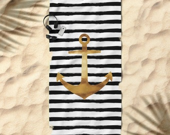 Oversized Beach Towel - Anchor and Stripes - Gold Black and White - Bundle with a Tote and Pouch!