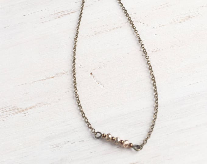 Bronze Delicate Choker with Beads, Sinple Jewelry, Layer Jewelry
