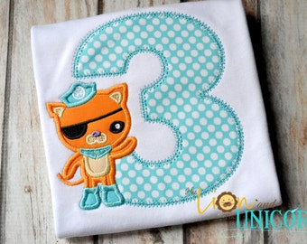 Kwazii Octonauts Birthday Shirt - number can be changed - Add A Name FOR FREE