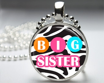 Big Sister Little Sister Pregnancy Announcement Round Pendant Necklace with Silver Ball or Snake Chain Necklace or Key Ring