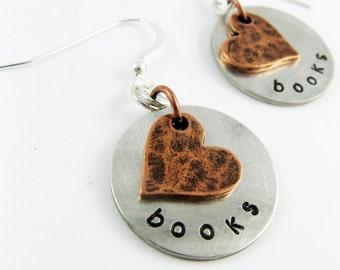 Heart Earrings for Bookworm, Librarian, or Book Lover's Gift