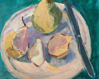 Pear painting original acrylic on paper, approximately 10 x 10 inches, modern impressionist, art and collectibles, #gift, still life