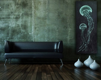 Jellyfish Painting on Wood Panel 2ft x 5ft Ready to Hang, Large Wall Art, Ocean Themed Painting, Art & Collectibles
