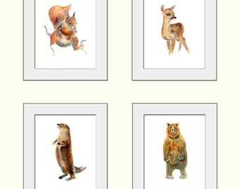 Woodland Collection 1-Childrens Art - Animal Paintings  - 4 x 8x10inch prints - Watercolor  Paintings - Nursery Art Prints