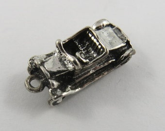 Fancy Convertible Car Sterling Silver Charm or Pendant.