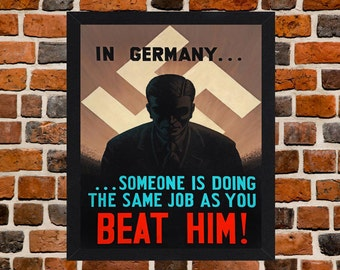 Framed Beat Him Second World War British Propaganda Poster A3 Size Mounted In Black Or White Frame