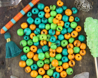 Citrus Mix: Real, Natural Acai Beads, South American Eco- Beads, 10mm, 100 beads, Bright Spring Teal, Orange, Green, Jewelry Making Supplies