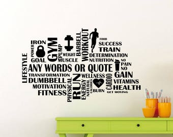 Custom Fitness Gym Words Cloud Wall Sticker Motivational Sport Personalized Vinyl Decal Home Room Inspirational Art Decor Mural 104gy