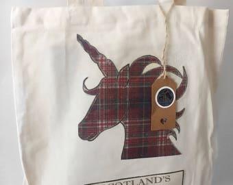 Scottish unicorn bag, tartan canvas shopper bag, unicorn tote bag, unicorn gifts, pink unicorn gift, funny unicorn gifts, Scottish gift