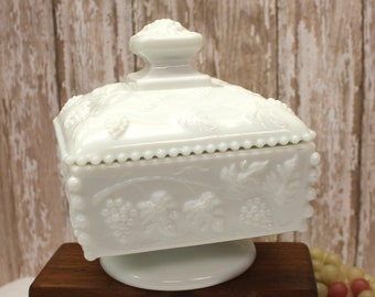Vintage Milk Glass Candy Dish with Cover, 2 piece