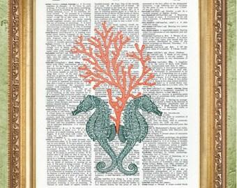 Seahorse Prints Nautical Art Prints Coastal Art Prints Beach Print Bathroom Art Nautical Dictionary Prints