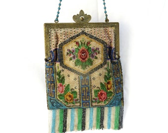 Antique Victorian Floral Beaded Purse/French Beaded Purse/Metal Frame/Beaded Fringe