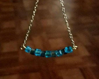 Necklace, 4mm aqua and grey cube bar, 20 inch chain, purchase matching earrings and bracelet in other listings, gold, clip-ons available.