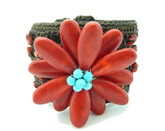 Red coral flower,turquoise carpel bangle