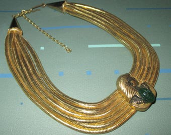 Vintage Egyptian Revival Gold Tone Rope and King Tut with Scarab Choker Necklace