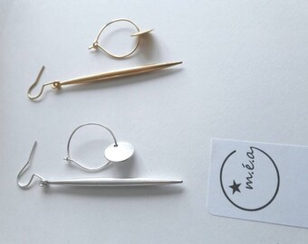 Earrings spikes or Hoop, mismatched or not, gold or silver version.