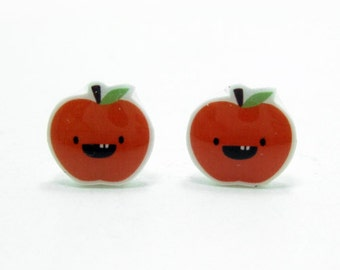 Dorky Apple Earrings | Red Sterling Silver Posts Studs | Gifts For Her