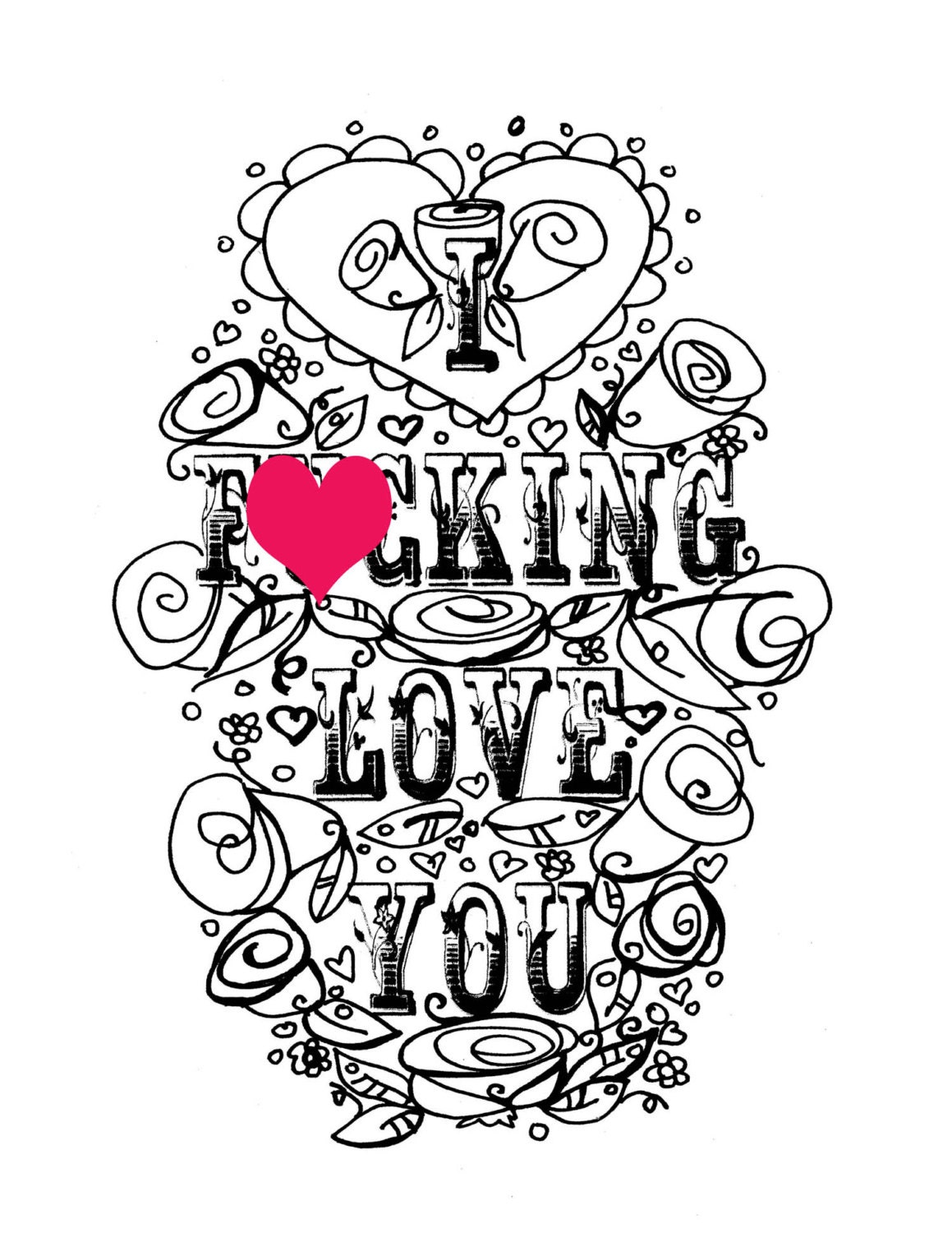 I Love You Coloring Pages Pdf : Adult coloring page valentine s day curse swear sheet