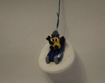 Ornament= Robot Sledding -Polymer Clay-