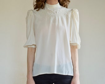 80's Victorian silk blouse with embroidered bodice and pleated puff sleeves / buttons up the back