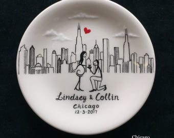 Chicago city skyline, Engagement gift, ring dish, New York, Philadelphia skyline, Personalized Hand Painted Ceramic Ring Dish