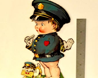 Vintage Valentine, Police Officer, Charles Twelvetrees, Policeman Whistle, Boston Terrier, Mechanical, Die Cut, Stand Up, Germany, 1920s