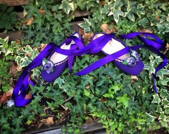Purple Flowers Pointe Shoe Decoration