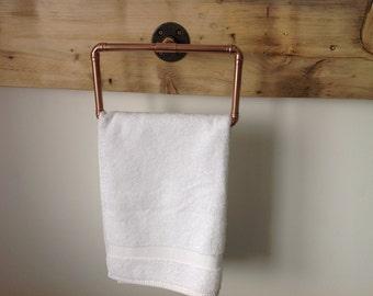 Copper pipe towel ring Industrial/Modern/Vintage