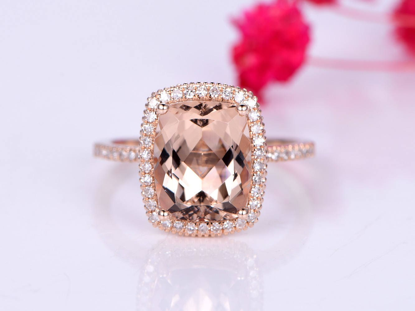 Morganite engagement ring pink morganite ring big cushion