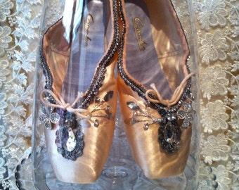 One of a kind decorated  pointe Ballet slippers
