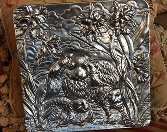 Arthur Court Bunny Rabbit Embossed Aluminum platter tray
