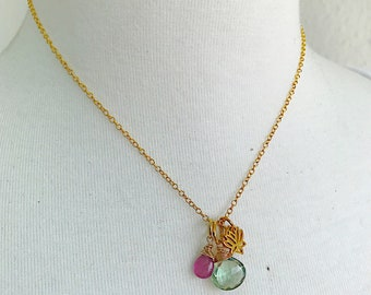 Lotus Necklace with Green Amethyst and Pink Sapphire