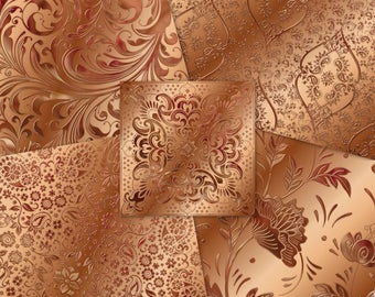 Rose Gold Copper Ornate Metal Papers  | Shiny Metallic Damask Scrolly Swirls Florals |  Instant Download